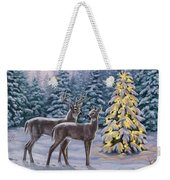 Whitetail Christmas Weekender Tote Bag by Crista Forest