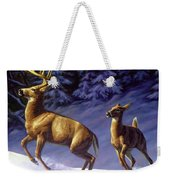 Whitetail Deer Painting - Startled Weekender Tote Bag by Crista Forest