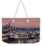 Wider Seattle Skyline And Rainier At Sunset From Magnolia Weekender Tote Bag