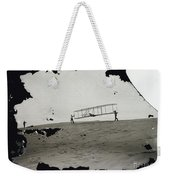 The Wright Brothers Wilbur In Motion At Left Holding One End Of Glider Weekender Tote Bag