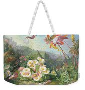 Wild Flowers And Butterfly Weekender Tote Bag by Jean Marie Reignier