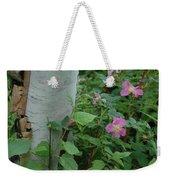 Wild Roses With Birch Tree Weekender Tote Bag