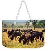 Wildebeests Herd. Gnu On African Savanna Weekender Tote Bag
