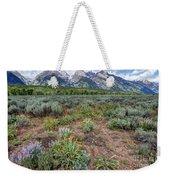 Wildflowers Bloom Below Teton Mountain  Range Weekender Tote Bag