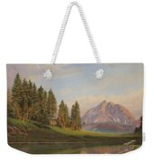 Wildflowers Mountains River Western Original Western Landscape Oil Painting Weekender Tote Bag