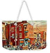 Wilenskys Paintings Hockey Art Commissions Originals Prints By Authentic Montreal Artist C Spandau Weekender Tote Bag