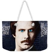 Will Ferrell Anchorman The Legend Of Ron Burgundy Words Color Weekender Tote Bag