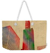 Willis Sears Tower Chicago Illinois Watercolor On Worn Canvas Series Weekender Tote Bag by Design Turnpike