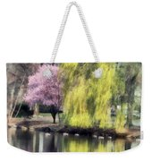 Willow And Cherry By Lake Weekender Tote Bag