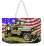Willys World War Two Army Jeep And American Flag Weekender Tote Bag