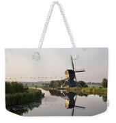Wind Mill On A Canal, Holland Weekender Tote Bag
