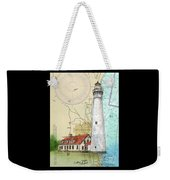 Wind Pt Lighthouse Wi Nautical Chart Map Art Cathy Peek Weekender Tote Bag