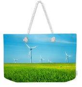 Wind Turbines On Green Field Weekender Tote Bag