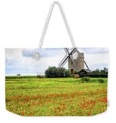 Windmill And Poppy Field In Brittany Weekender Tote Bag