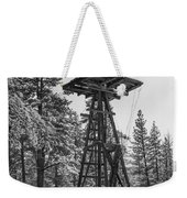Windmill In The Snow Black And White Weekender Tote Bag