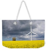 Windmill With Motion Blur In Rapeseed Field Weekender Tote Bag