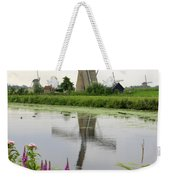 Windmills Of Kinderdijk With Flowers Weekender Tote Bag