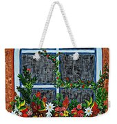 Window Flower Box On A Stucco Wall Weekender Tote Bag