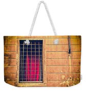 Window With Grate And Red Curtain Weekender Tote Bag by Silvia Ganora