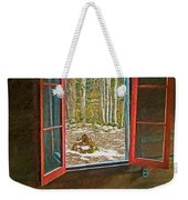 Window With View Abandoned Elkmont Log Cabin Autumn Weekender Tote Bag