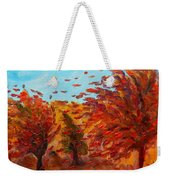Windy Autumn Day Weekender Tote Bag
