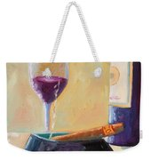 Wine And Cigar Weekender Tote Bag by Todd Bandy