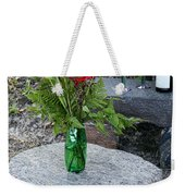 Wine And Red Flowers On The Rocks Weekender Tote Bag