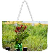 Wine Bottle And Two Glasses Weekender Tote Bag