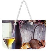 Wine Bottle With Glass In Window Weekender Tote Bag