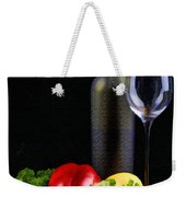 Wine For A Salad Weekender Tote Bag by Elaine Plesser