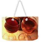 Wine Toast In Watercolor Weekender Tote Bag by Elaine Plesser