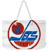 Winnipeg Jets Retro Hockey Team Logo Recycled Manitoba Canada License Plate Art Weekender Tote Bag