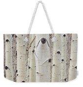 Winter Aspen Tree Forest Portrait Weekender Tote Bag