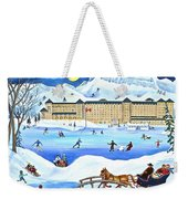 Winter At Lake Louise Chateau Weekender Tote Bag