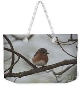 Winter Blue Bird 1 Weekender Tote Bag