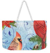 Winter Blue Cardinals-joy Card Weekender Tote Bag
