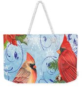 Winter Blue Cardinals-merry Christmas Card Weekender Tote Bag