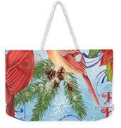 Winter Blue Cardinals-peace Card Weekender Tote Bag