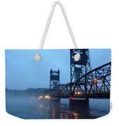 Winter Bridge In Fog Weekender Tote Bag