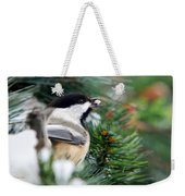 Winter Chickadee With Seed Weekender Tote Bag