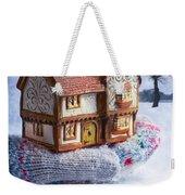 Winter Cottage In Gloved Hand Weekender Tote Bag
