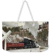 Winter Crossbuck Crossing Weekender Tote Bag