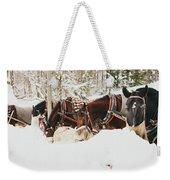 Horses Eating In Snow Weekender Tote Bag