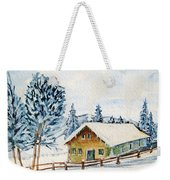 Winter Idyll With Text Weekender Tote Bag