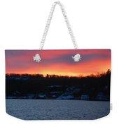 Winter Lake Sunset Weekender Tote Bag