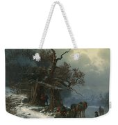 Winter Landscape With Figures On A Frozen River Weekender Tote Bag by Heinrich Hofer