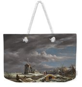 Winter Landscape With Figures On A Path Weekender Tote Bag