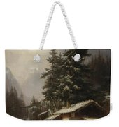 Winter Landscape With Figures Resting Near A Water Mill Weekender Tote Bag
