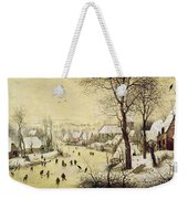 Winter Landscape With Skaters And A Bird Trap Weekender Tote Bag