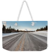 Winter On Country Road In Taiga And Snowy Mountain Weekender Tote Bag